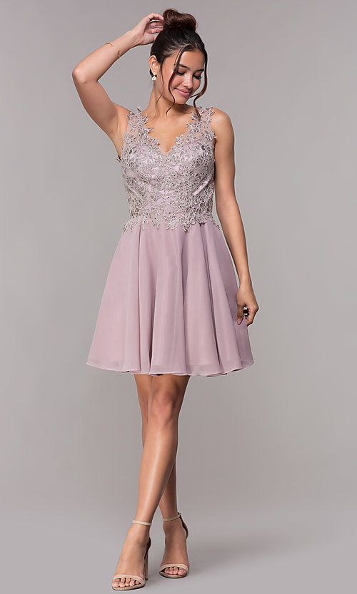 Image of embroidered-bodice short mauve homecoming dress. Style: FB-PL-GS1622 Detail Image 3
