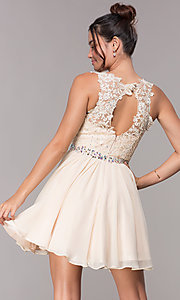 Image of short chiffon homecoming embroidered-applique dress. Style: FB-GS1623 Back Image
