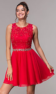 Image of short chiffon homecoming embroidered-applique dress. Style: FB-GS1623 Detail Image 2