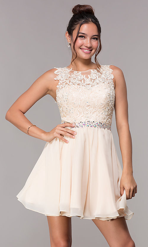 Image of short chiffon homecoming embroidered-applique dress. Style: FB-GS1623 Detail Image 1