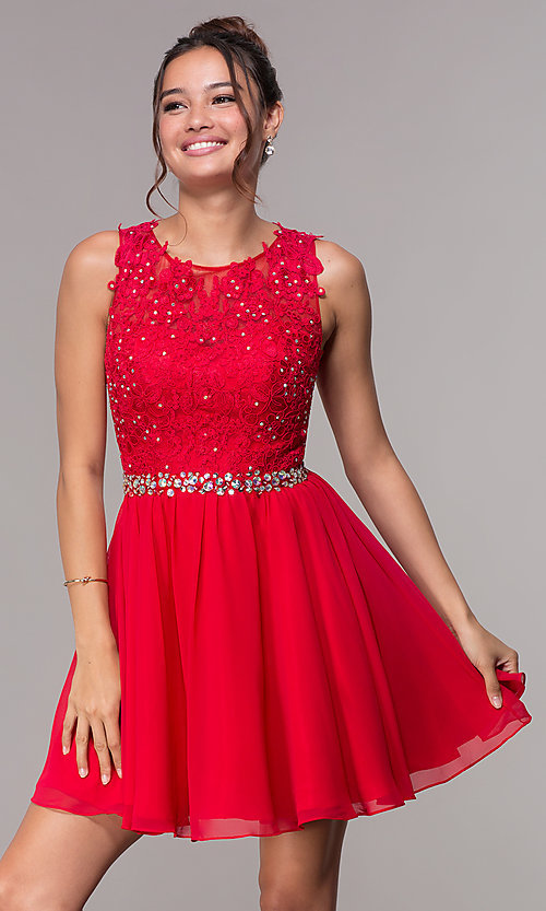 Image of short chiffon homecoming embroidered-applique dress. Style: FB-GS1623 Front Image