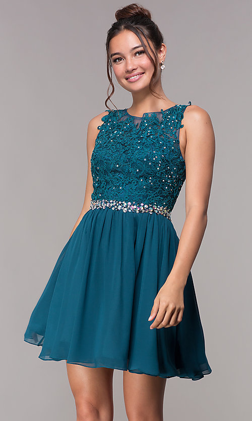 Image of short chiffon homecoming embroidered-applique dress. Style: FB-GS1623 Detail Image 3