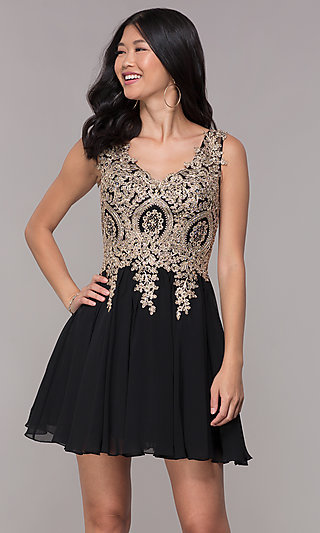 Embroidered-Bodice Short Homecoming Party Dress