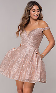 Image of short homecoming off-the-shoulder glitter dress. Style: FB-GS1626 Front Image