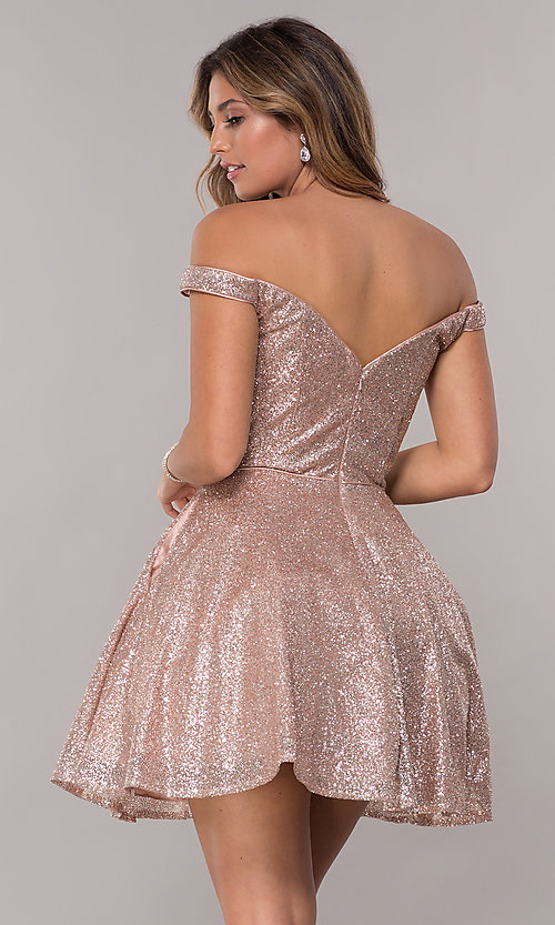 Image of short homecoming off-the-shoulder glitter dress. Style: FB-GS1626 Back Image