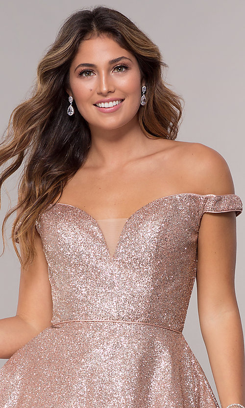 Image of short homecoming off-the-shoulder glitter dress. Style: FB-GS1626 Detail Image 1