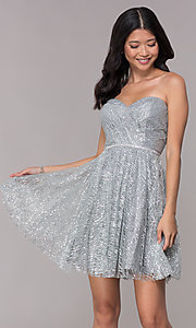 Image of glitter short silver strapless homecoming dress. Style: FB-GS1627 Front Image