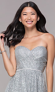 Image of glitter short silver strapless homecoming dress. Style: FB-GS1627 Detail Image 1