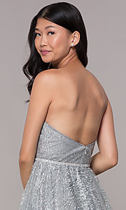 Image of glitter short silver strapless homecoming dress. Style: FB-GS1627 Detail Image 2