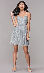 Image of glitter short silver strapless homecoming dress. Style: FB-GS1627 Detail Image 3