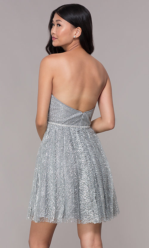 Image of glitter short silver strapless homecoming dress. Style: FB-GS1627 Back Image