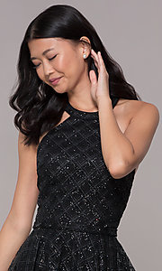 Image of glitter-tulle short black homecoming party dress. Style: FB-GS1631 Detail Image 1