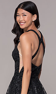 Image of glitter-tulle short black homecoming party dress. Style: FB-GS1631 Detail Image 2