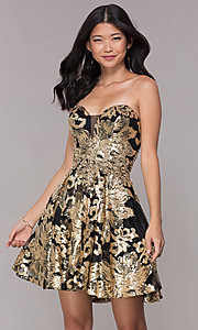 Image of strapless gold-sequin short homecoming party dress. Style: FB-GS1632 Front Image