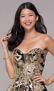 Image of strapless gold-sequin short homecoming party dress. Style: FB-GS1632 Detail Image 1