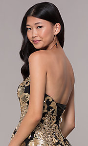 Image of strapless gold-sequin short homecoming party dress. Style: FB-GS1632 Detail Image 2