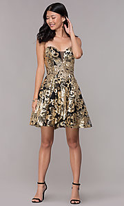 Image of strapless gold-sequin short homecoming party dress. Style: FB-GS1632 Detail Image 3