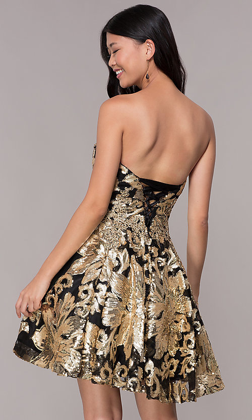 Image of strapless gold-sequin short homecoming party dress. Style: FB-GS1632 Back Image