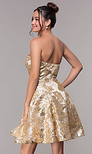 Image of strapless gold homecoming dress with sequin print. Style: FB-GS1635 Back Image