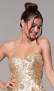 Image of strapless gold homecoming dress with sequin print. Style: FB-GS1635 Detail Image 1