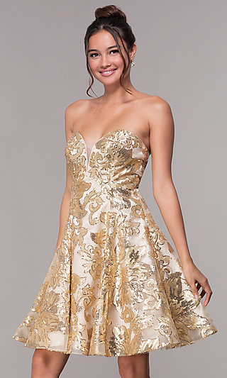 4f3fb5fb922 Strapless Gold Homecoming Dress with Sequin Print. Share