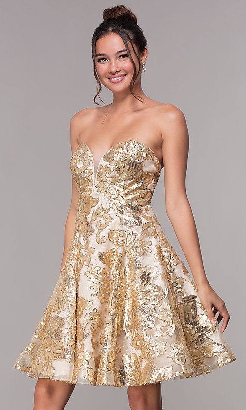 Image of strapless gold homecoming dress with sequin print. Style: FB-GS1635 Front Image