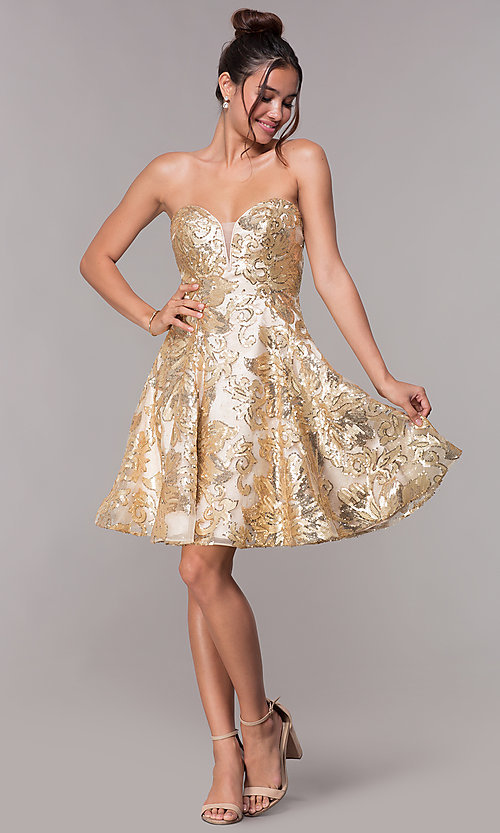 Image of strapless gold homecoming dress with sequin print. Style: FB-GS1635 Detail Image 3
