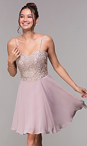 Image of short chiffon mauve homecoming dress with corset. Style: FB-PL-GS1636 Front Image