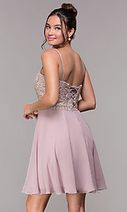 Image of short chiffon mauve homecoming dress with corset. Style: FB-PL-GS1636 Back Image