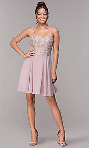 Image of short chiffon mauve homecoming dress with corset. Style: FB-PL-GS1636 Detail Image 3