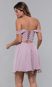 Image of chiffon homecoming dress with lace-up back. Style: FA-10163 Detail Image 5