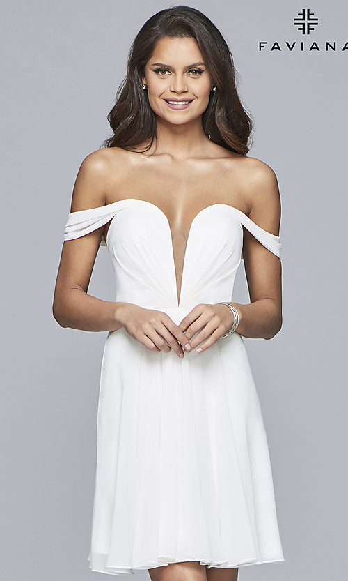 Off Shoulder Chiffon Homecoming Dress With Corset Back