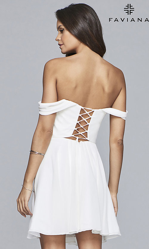 Image of chiffon homecoming dress with lace-up back. Style: FA-10163 Detail Image 8
