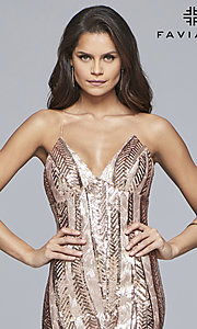 Image of short Faviana sequin homecoming dress with v-neck. Style: FA-S10171 Detail Image 1