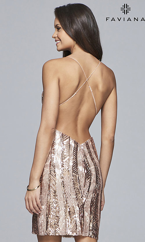 Image of short Faviana sequin homecoming dress with v-neck. Style: FA-S10171 Back Image
