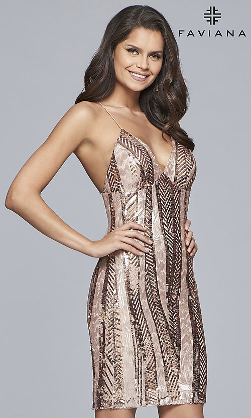 Image of short Faviana sequin homecoming dress with v-neck. Style: FA-S10171 Detail Image 2