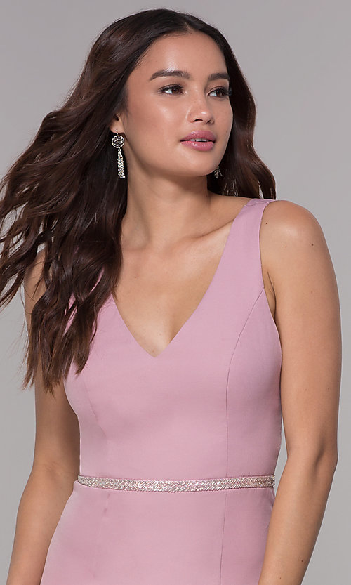 Image of mauve pink v-neck short homecoming party dress. Style: MT-9375 Detail Image 1