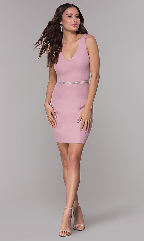 Image of mauve pink v-neck short homecoming party dress. Style: MT-9375 Detail Image 3
