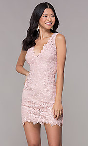 Image of short embroidered-lace homecoming party dress. Style: MT-9191 Front Image