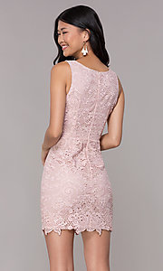 Image of short embroidered-lace homecoming party dress. Style: MT-9191 Back Image