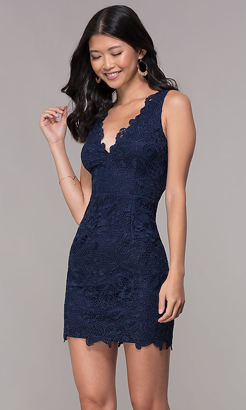 Image of short embroidered-lace homecoming party dress. Style: MT-9191 Detail Image 3