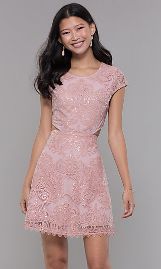 Sequin-Lace Short Mauve Pink Homecoming Dress