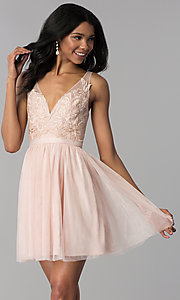 Image of lace-bodice short tulle homecoming dress. Style: LP-27403 Front Image