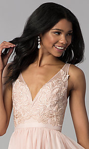 Image of lace-bodice short tulle homecoming dress. Style: LP-27403 Detail Image 1