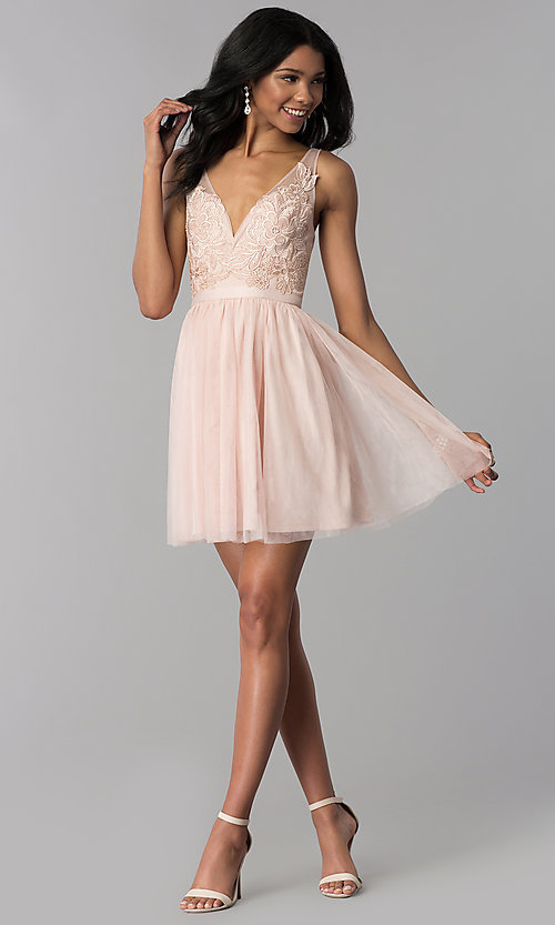 Image of lace-bodice short tulle homecoming dress. Style: LP-27403 Detail Image 3