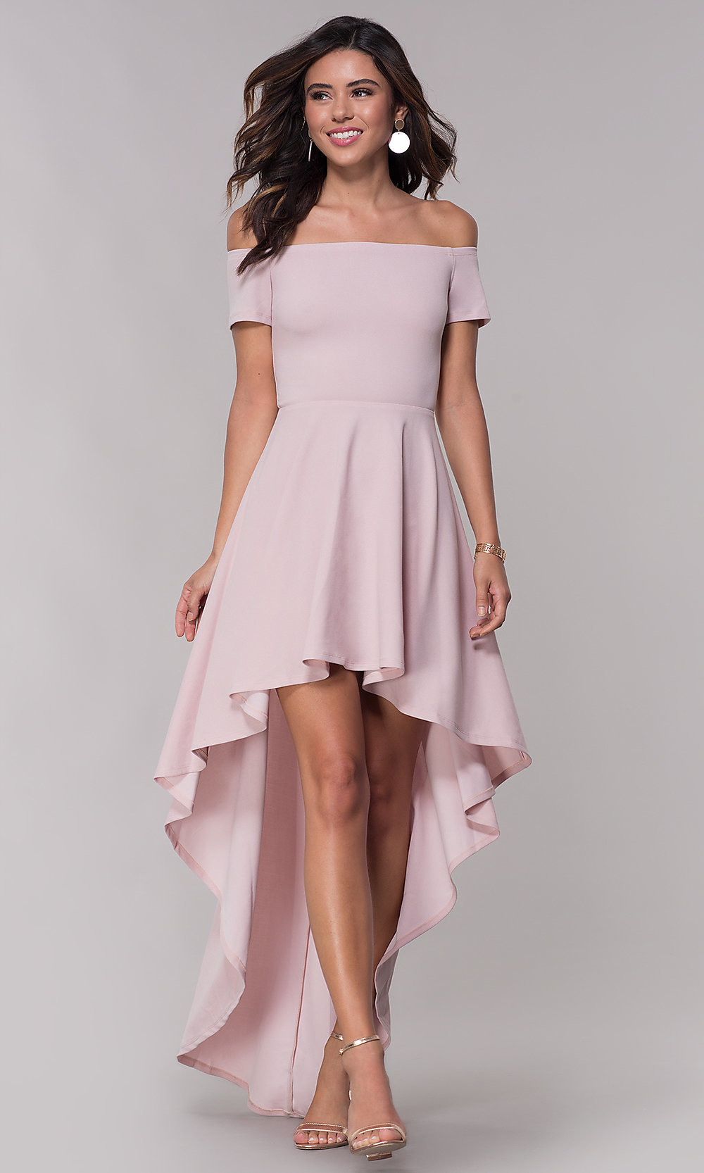 109f0f46ac6 Homecoming High-Low Off-the-Shoulder Party Dress