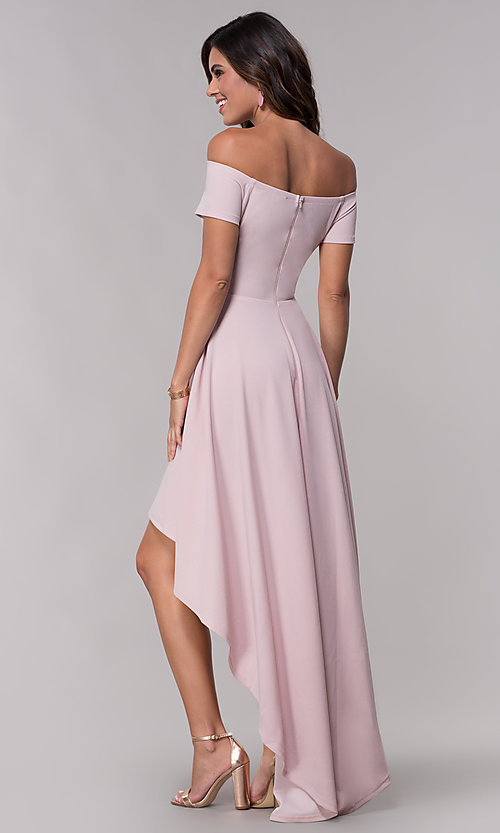 new lifestyle vast selection 100% authentic Mauve Off-the-Shoulder High-Low Homecoming Dress