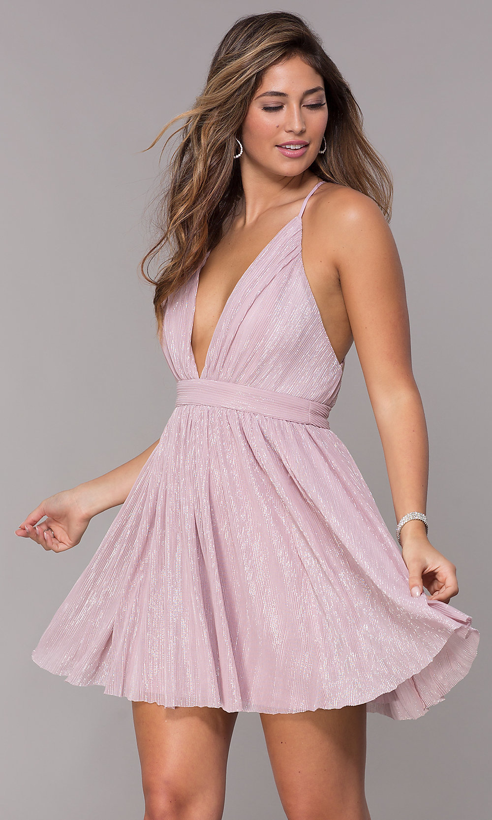 V-Neck Satin Party Dress with Tulle Skirt and Beaded