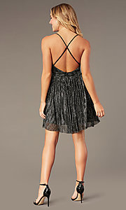 Image of short homecoming v-neck metallic party dress. Style: LP-27728 Detail Image 5