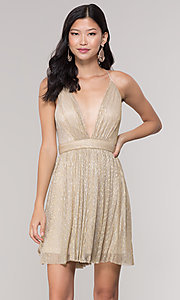 Image of short homecoming v-neck metallic party dress. Style: LP-27728 Detail Image 4